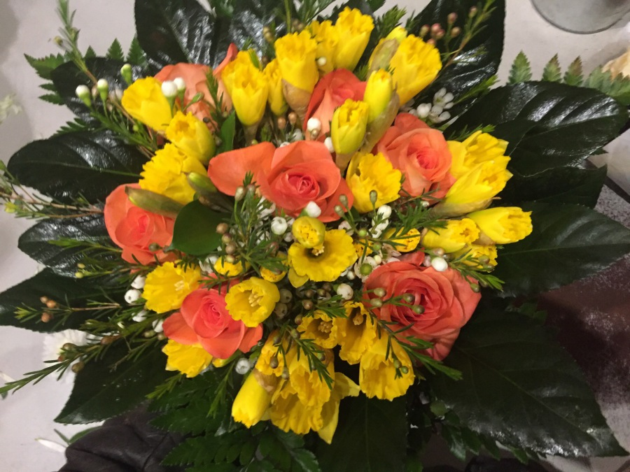 bouquet roses jaune et orange